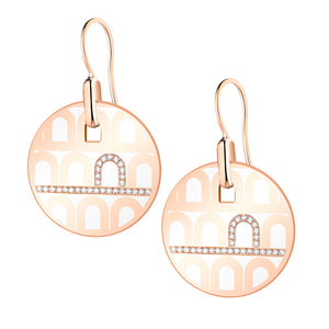 L'Arc de DAVIDOR Pendant Earring GM, 18k Rose Gold with Neige lacquer and Porta Diamonds
