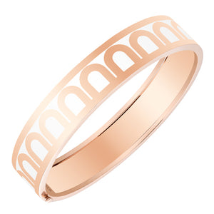 L'Arc de DAVIDOR Bangle GM, 18k Rose Gold with Neige lacquer, size 17