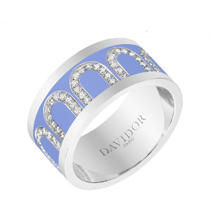 L'Arc de DAVIDOR Ring GM, 18k White Gold with Hortensia lacquer and Arcade Diamonds, size 52