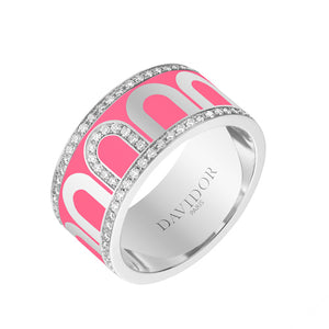 L'Arc de DAVIDOR Ring GM, 18k White Gold with May Rose lacquer and Porta Diamonds, size 53