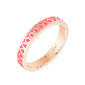 L'Arc de DAVIDOR Ring PM, 18k Rose Gold with Flamant lacquer, size 52
