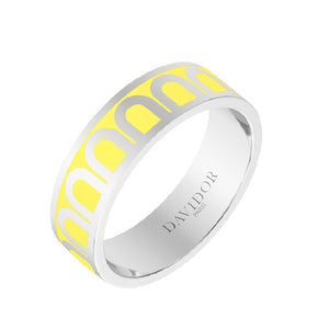 L'Arc de DAVIDOR Ring MM, 18k White Gold with Limoncello lacquer, size 54