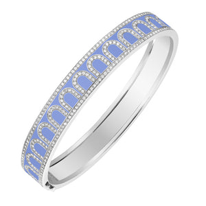 L'Arc de DAVIDOR Bangle MM, 18k White Gold with Hortensia lacquer and Palais Diamonds, size 16