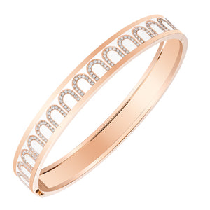 L'Arc de DAVIDOR Bangle MM, 18k Rose Gold with Neige lacquer and Arcade Diamonds, size 16