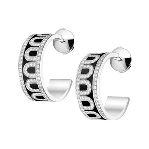 L'Arc de DAVIDOR Creole Earring PM, 18k White Gold with Caviar lacquer and Palais Diamonds