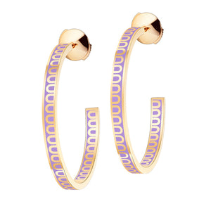 L'Arc de DAVIDOR Creole Earring MM, 18k Yellow Gold with Lavande lacquer