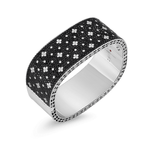 Wide Bangle Black White Fluer De Lis Diamonds