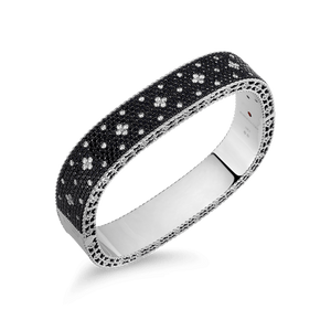 Medium Bangle Black White Fluer De Lis Diamonds