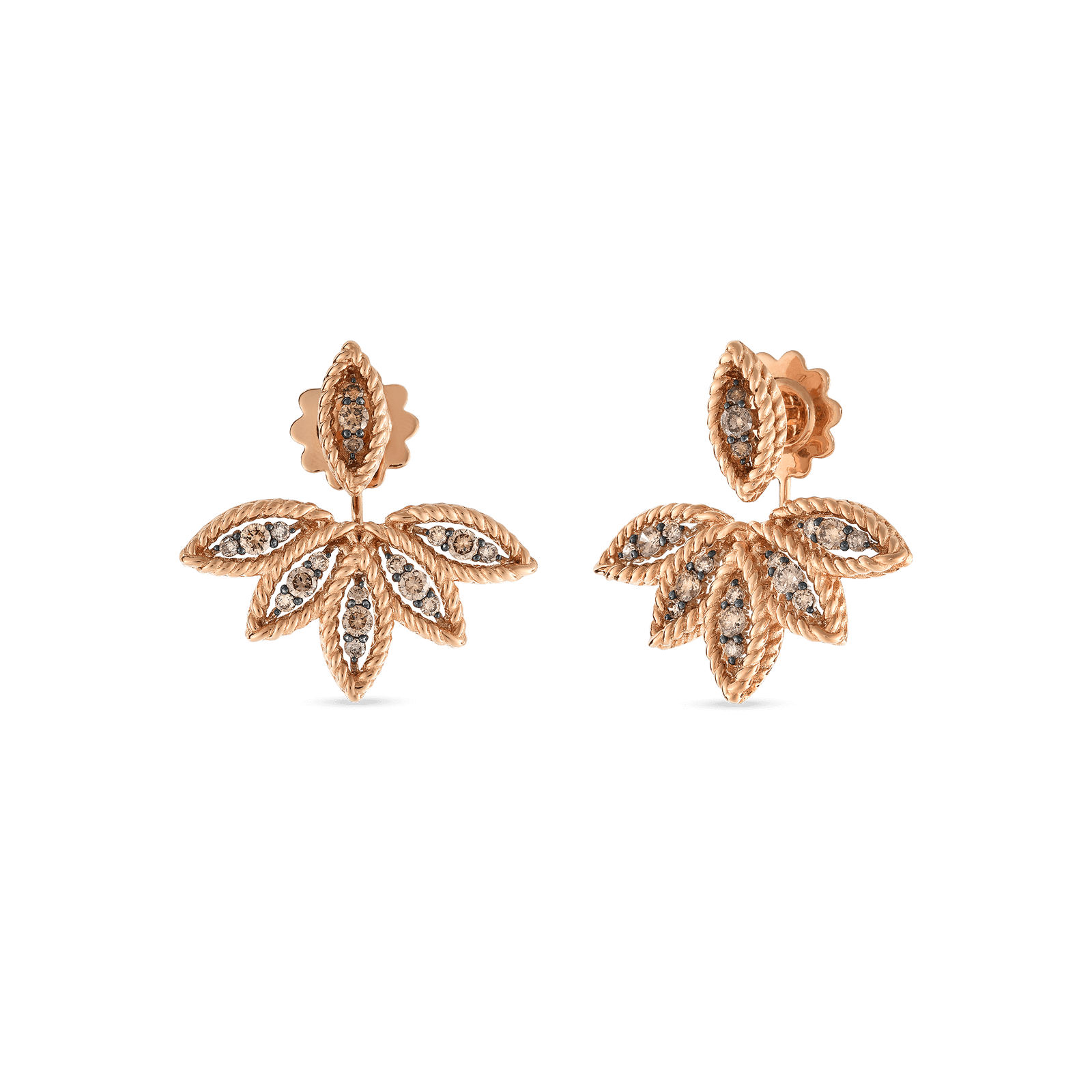 de aura coloured fancy beers earrings earring stud brown diamond