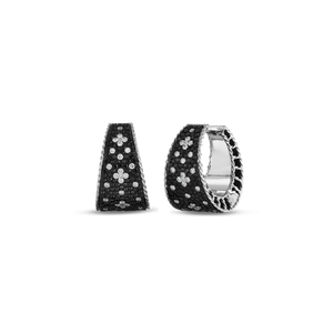 Tapered Hoop Earrings Black White Fleur De Lis Diamonds