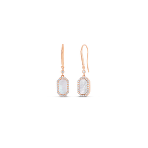 Art Deco Drop Earrings With Diamond And Mother Of Pearl