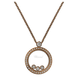 Rose Gold Happy Diamonds Round Pavee Necklace