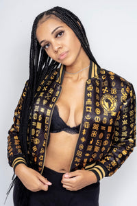 Adinkra Ladies Bomber Jacket