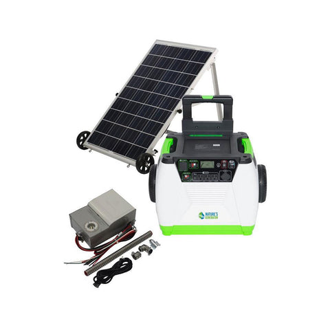 Nature's Generator Gold PE System - solar and wind rechargeable electric generator with power transfer kit and 100W solar panel