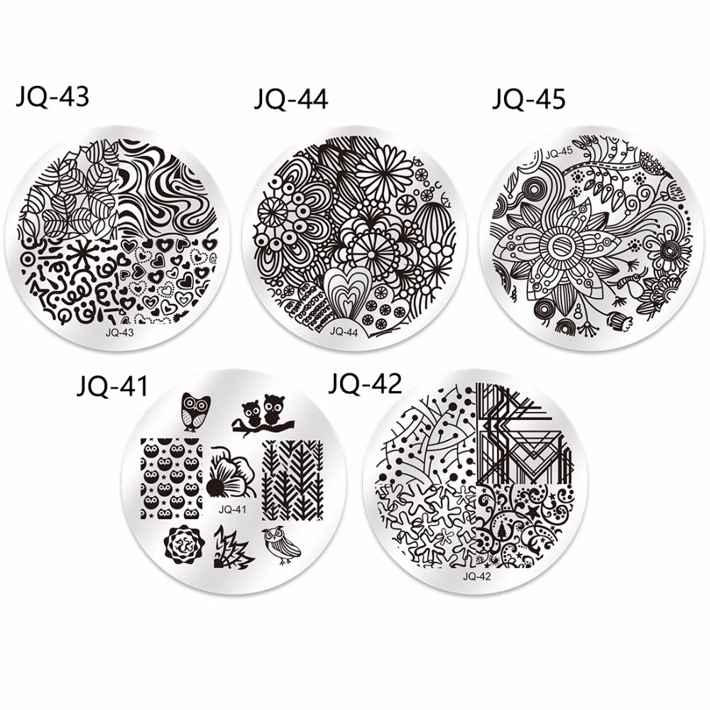 10pcs nail stamping plates polish stencils for nails 1pc rose red te