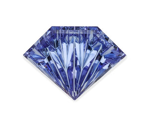 "13.64 carat Tanzanite (Concaved ""fantasy"" shield cut)"