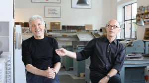 Louis Rossetto (left) and Erik Spiekermann (right) at Erik's digital analog printing lab p98a Berlin.