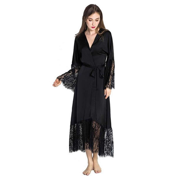 Long Sleeve Lace Trim Robe