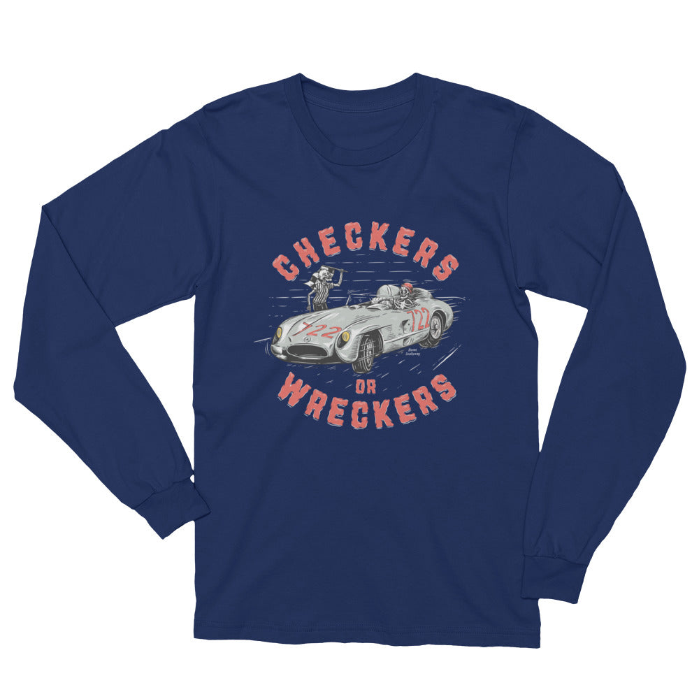 Bones Checkers Dark Unisex Long Sleeve T-Shirt