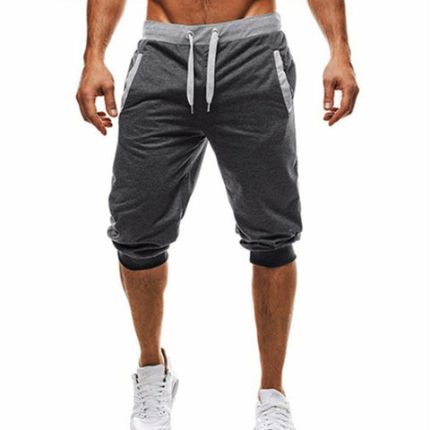 Mens Knee Length Workout Shorts (Black/Light Grey/Dark Grey)