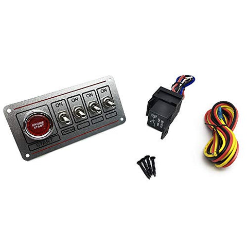 Racing Sliver Switch Panel Race Car Ignition Accessory Engine Start,4 Switch