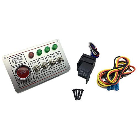 Racing Switch Panel Ignition Accessory Electrical Rocker Engine Start 4 pins 4 Lights Switch Panel Silver