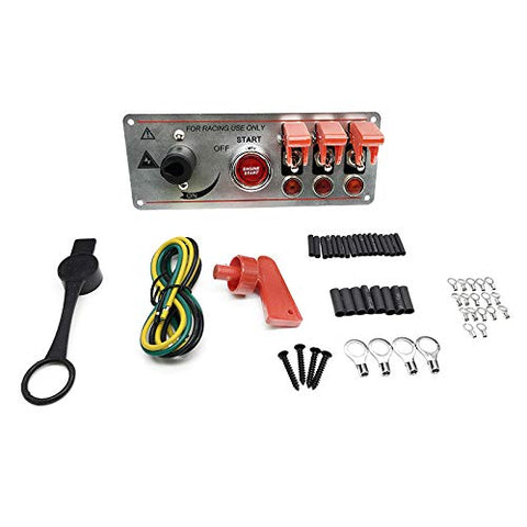 Racing Switch Panel Lip-up Ignition Switch Panel 5 in 1 Car Engine Start Push Button LED Toggle Silver