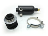 Catch Tank with Breather Filter Oil Catch Can With Two AN12 Fittings Black - Direct Automotive