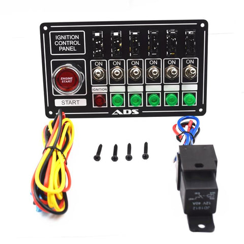 Racing Switch Panel Race Car Ignition Accessory Engine Start, 6 switch, lights and fused