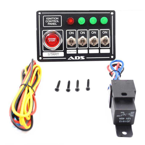 Switch Panel Race Car Ignition Accessory Engine Start, 4 switch with 4 lights