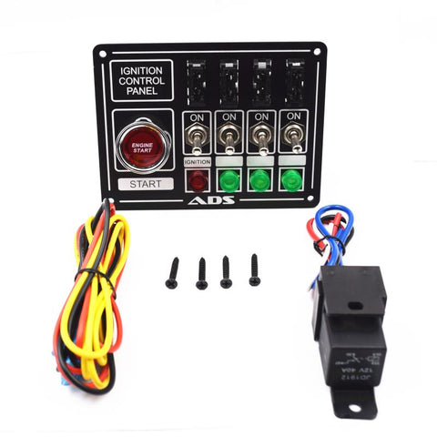Racing Switch Panel Race Car Ignition Accessory Engine Start, 4 switch, lights and fused