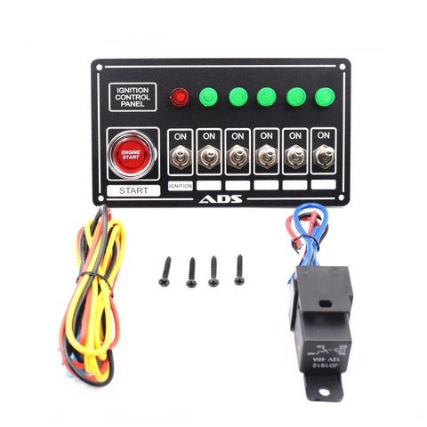 Racing Switch Panel Race Car Ignition Accessory Engine Start, 6 switch and lights