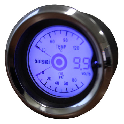 Water Temperature/ Oil Pressure/ Voltmeter 52MM LCD 3 IN ONE GAUGE