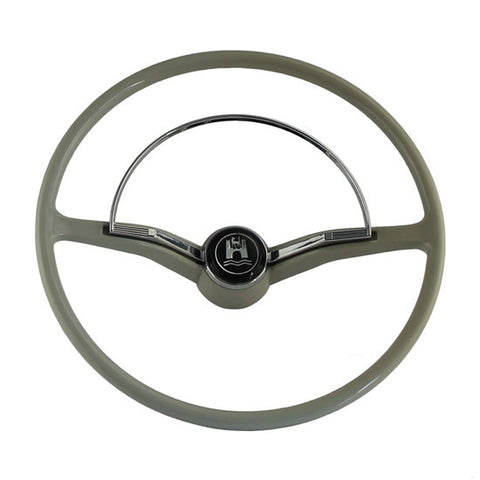 Steering wheel chrome ring & button For VW Volkswagen Beetle 1955-1965 (Grey)
