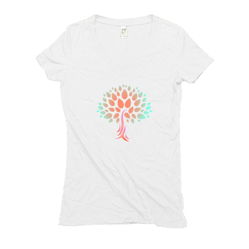 Womens Organic Hemp V-Neck Tee with Wish Yielding Tree Design