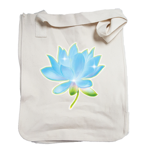 Market Tote Organic Cotton with Lotus Design in Blue