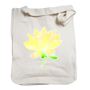 Market Tote Organic Cotton with Lotus Design in Yellow