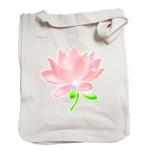 Market Tote Organic Cotton with Lotus Design in Peach