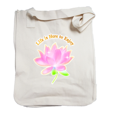 "Market Tote Organic Cotton with ""Life is here to Enjoy"" Design"