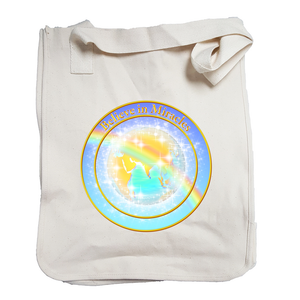 """Believe in Miracles"" Globe Organic Cotton Tote"