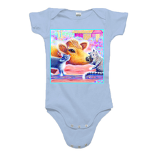 "Organic infant one piece short sleeve with ""Priya and Cats"" design"
