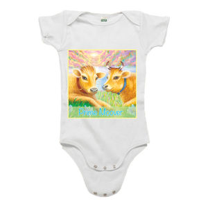 "Organic infant one piece short sleeve with ""Priya and Vedi Prime Moovers"" design"