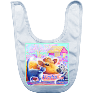 "Organic Cotton Infant Bib with ""Priya and Cats Purrrfect""design"