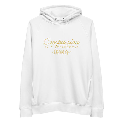 'Compassion' Unisex organic cotton/recycled Eco pullover hoodie