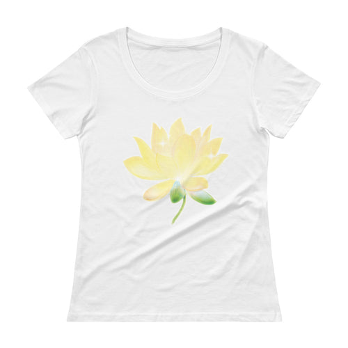 Yellow Lotus 100% cotton Ladies' Scoopneck T-Shirt