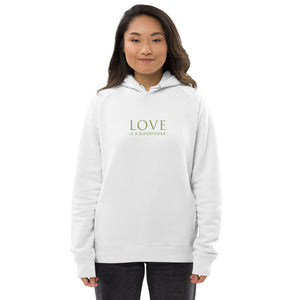 'Love is a Superpower' Unisex pullover hoodie