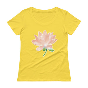 Peach Lotus 100% cotton Ladies' Scoopneck T-Shirt