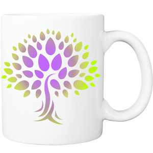 Mug with Wish Yielding Tree Design in Purple and Lime