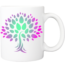 Mug with Wish Yielding Tree Design in Green and Magenta