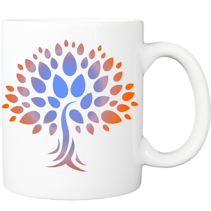 Mug with Wish Yielding Tree Design in Blue and Orange